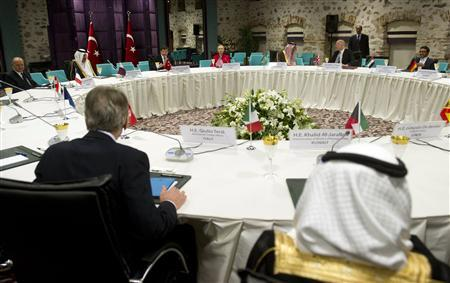 "World diplomats attend a ""Friends of Syria"" meeting at the Dolmabahce Palace in Istanbul"