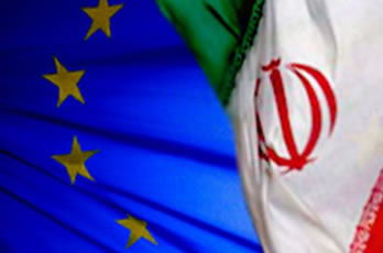 Iran, EU flags