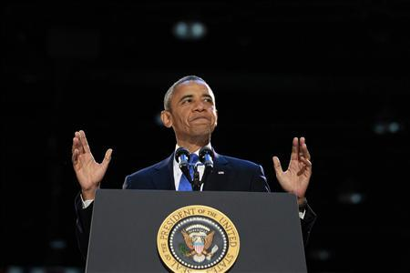 U.S. President Barack Obama speaks during his election night rally in Chicago