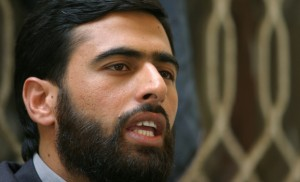Spokesman of the Palestinian Hamas movement speaks to reporters in Sanaa