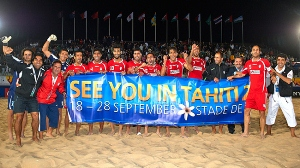 Iran's national beach soccer team at Katara Beach in the Qatari capital Doha