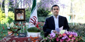 Iranian President Mahmoud Ahmadinejad addresses the Iranian nation on the occasion of the Persian New Year, Nowruz, on March 20, 2013.