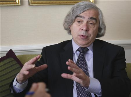 U.S. Secretary of Energy Ernest Moniz gestures during an interview with Reuters in Vienna