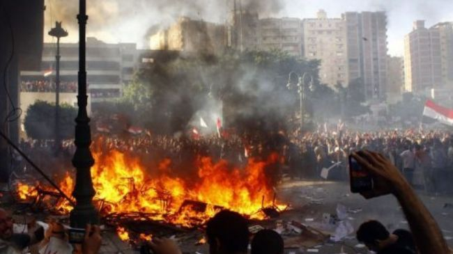 Opponents of Egyptian President Mohamed Morsi protest in the coastal city of Alexandria on June 28, 2013.