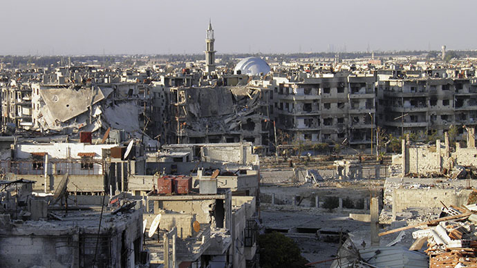 A general view of the besieged area of Homs