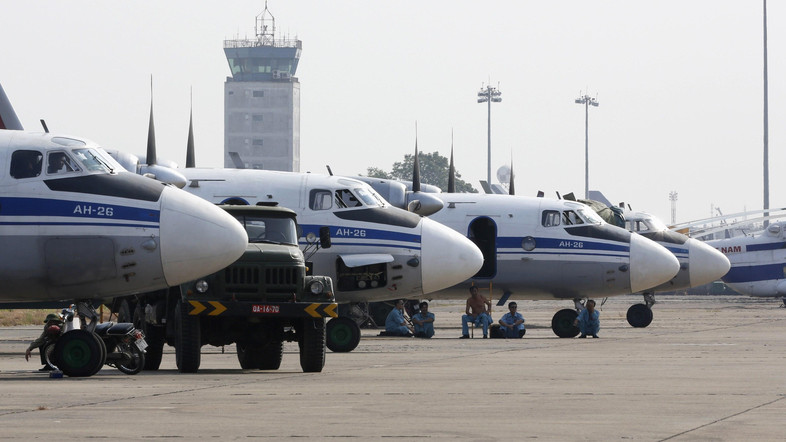 Search and rescue aircrafts belonging to Vietnam Air Force are seen at a military airport in Ho Chi Minh city