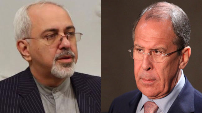Iran's Foreign Minister Mohammad Javad Zarif (L) and his Russian counterpart, Sergei Lavrov