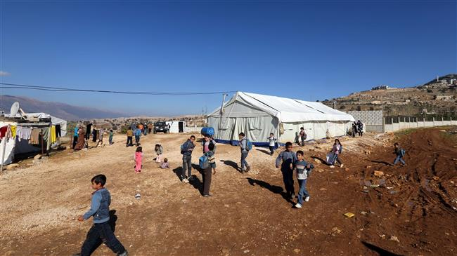 Syrian refugee children at a refugee camp in Lebanon's Bekka Valley.