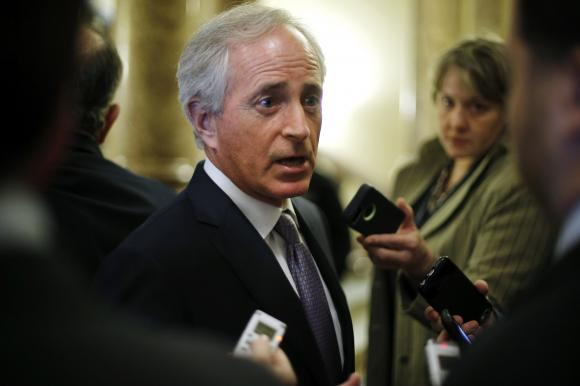 U.S. Senator Bob Corker (R-TN) speaks with reporters after Democratic and Republican party policy luncheons at the U.S. Capitol in Washington January 7, 2015.