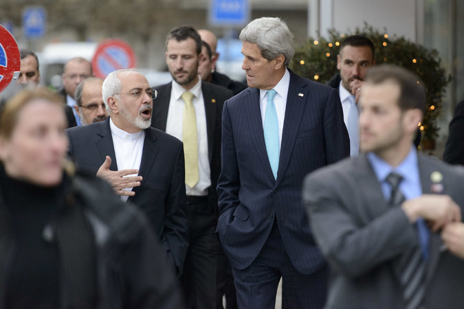 The Iranian foreign minister, Mohammad Javad Zarif, was criticized for the stroll he took with Secretary of State John Kerry in Geneva on Jan. 14. Credit Laurent Gillieron/European Pressphoto Agency