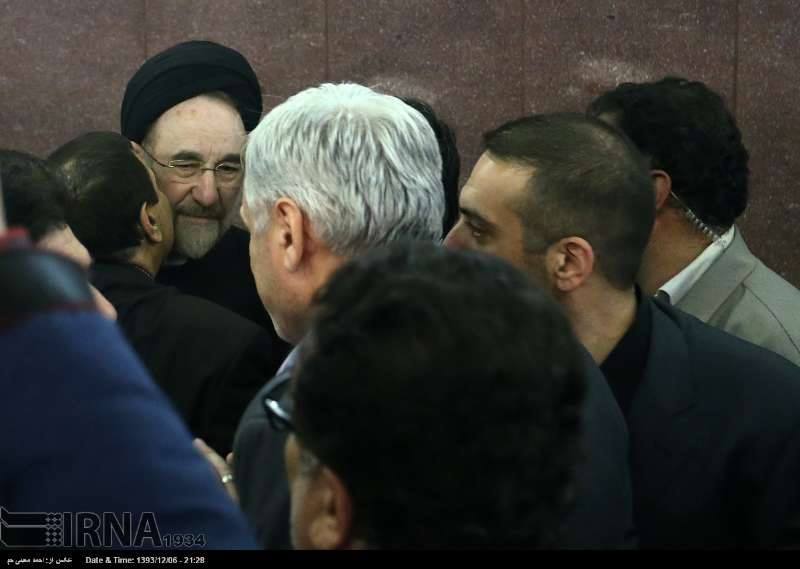 Iranian officials offer condolences to former reformist president in Tehran on February 25, 2015.