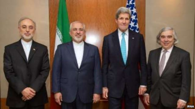 Iran's Foreign Minister Mohammad Javad Zarif and the head of the Atomic Energy Organization of Iran (AEOI) Ali Akbar Salehi meet with US Secretary of State John Kerry and US Energy Secretary Ernest Moniz in Geneva to discuss Tehran's nuclear program.