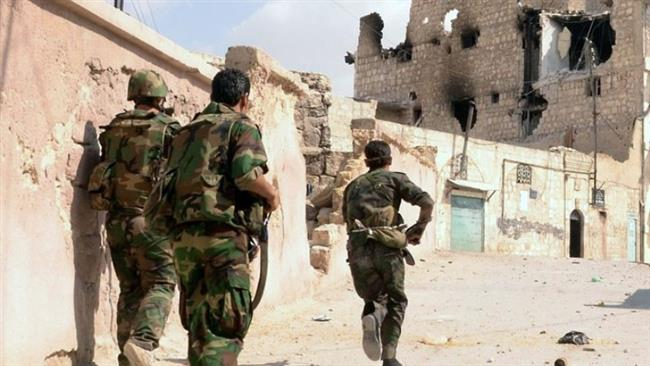Syrian army soldiers moving in on a militant-ravaged town (file photo)