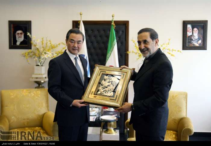 Head of Iran's Strategic Research Studies Center at the Expediency Council Ali Akbar Velayati meets Chinese Foreign Minister Wang Yi in Tehran
