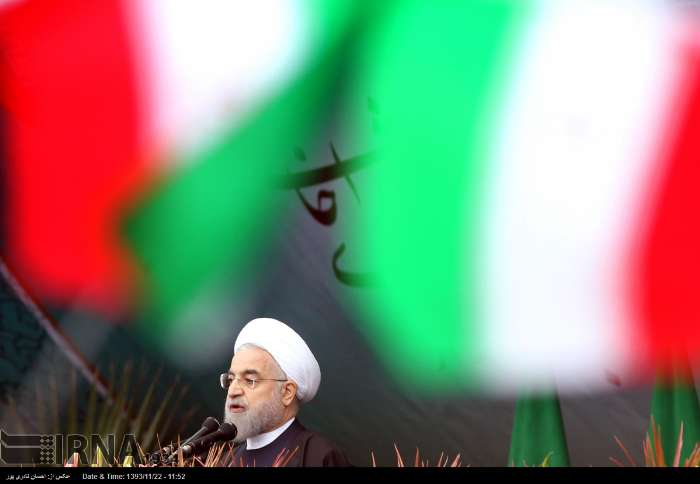 Iran's President Rouhani addresses rally on the 36th anniversary of Islamic Revolution.
