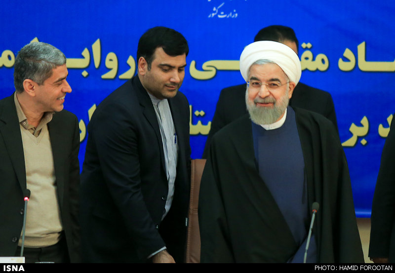 Iran's president Rouhani attends a conference on Resistance Economy on February 23, in Tehran.