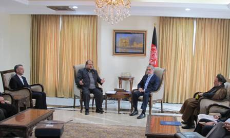 Iran's Vice-President Mohammad Shariatmadari meets Chief Executive Officer of Afghanistan Abdullah Abdullah in Kabul on February 17, 2015.
