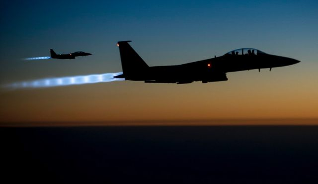 Archive: A pair of U.S. F-15E Strike Eagle fly over northern Iraq, after conducting airstrikes in Syria. Photo by AP
