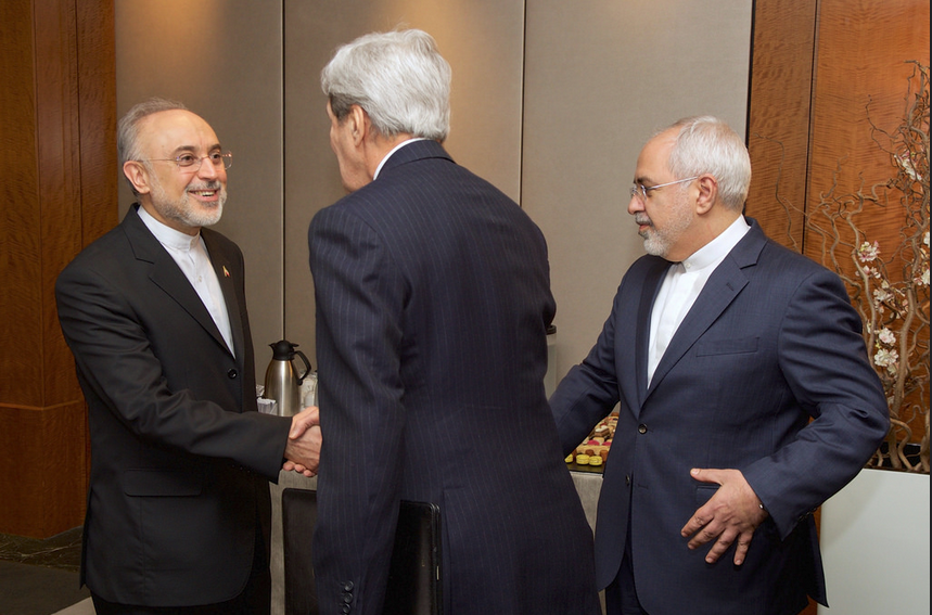 Iran's Foreign Minister Mohammad Javad Zarif and the head of the Atomic Energy Organization of Iran (AEOI) Ali Akbar Salehi meet with US Secretary of State John Kerry on February 23, in Geneva to discuss Tehran's nuclear program.