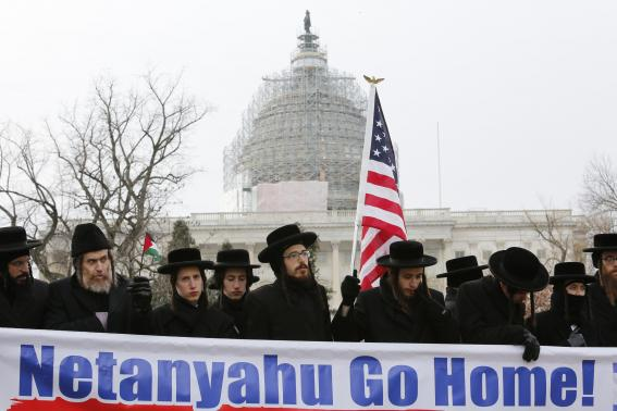 Anti-Zionist Orthodox Rabbis protest against Israeli Prime Minister Benjamin Netanyahu's speech to a joint meeting of Congress on Capitol Hill in Washington March 3, 2015.  CREDIT: REUTERS/YURI GRIPAS