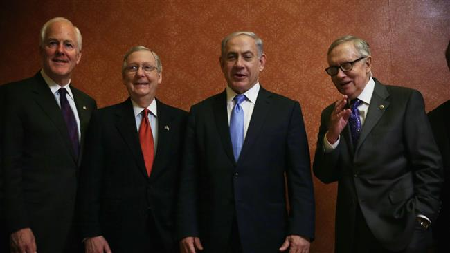 Israeli Prime Minister Benjamin Netanyahu (3rd L) poses for a photograph with US Senate Majority Leader Sen. Mitch McConnell (R-KY) (2nd L), Senate Minority Leader Sen. Harry Reid (D-NV) (4th L), and Senate Majority Whip Sen. John Cornyn (R-TX) (L) prior to a meeting at the US Capitol, March 3, 2015 in Washington, DC.