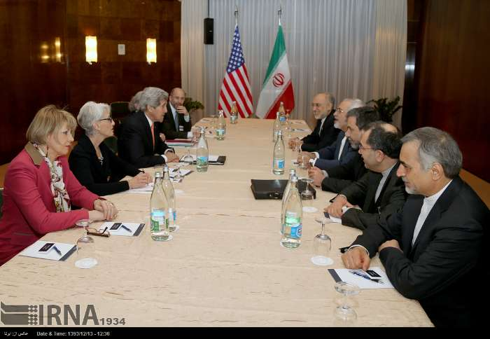 The photo shows representatives of Iran (R), the United States and the European Union during their fourth round of talks in Montreux, Switzerland, March 4, 2015.