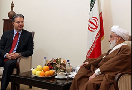 Turkish Ambassador to Tehran Reza Hakan  Tekin (L) &  Secretary of Guardian Council Ayatollah Ahmad Jannati