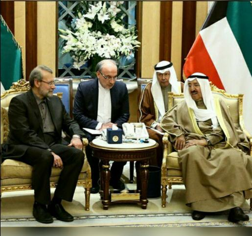 Iran's Parliament Speaker Ali Larijani hold talks with Emir of Kuwait Sheikh Sabah Al-Ahmad Al-Jaber Al- Sabah on March 10, 2015.