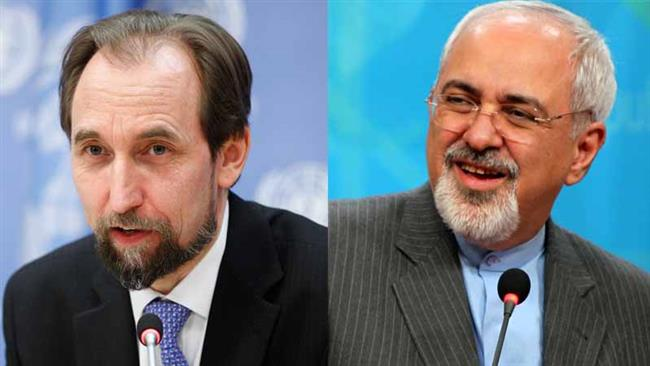Iranian Foreign Minister Mohammad Javad Zarif (R) and United Nations High Commissioner for Human Rights Zeid Ra'ad Zeid Al Hussein