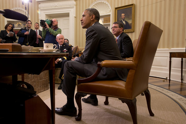 President Obama with Gen. Martin E. Dempsey, chairman of the Joint Chiefs of Staff, and Defense Secretary Ashton B. Carter. Credit Stephen Crowley/The New York Times