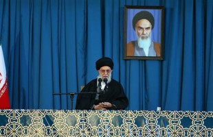 Leader of the Islamic Revolution Ayatollah Seyyed Ali Khamenei delivers his new year address to the nation at Imam Reza (PBUH)'s holy shrine in the northeastern city of Mashhad, March 21, 2015.