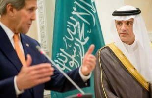 U.S. Secretary of State John Kerry, left, and Saudi Foreign Minister Adel al-Jubeir, right, hold a joint news conference at Riyadh Air Base in Saudi Arabia, Thursday, May 7, 2015. Kerry sought to secure a pause in Yemen's war after he arrived to Saudi Arabia to meet with the king and other top officials, citing increased shortages of food, fuel and medicine that are adding to a crisis that already has neighboring countries bracing for a mass exodus of refugees. (AP Photo/Andrew Harnik, Pool)