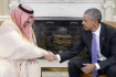 WASHINGTON, DC - MAY 13:  U.S President Barack Obama Shakes hands with Crown Prince Mohammed bin Nayef of Saudi Arabia during  a bilateral meeting in the Oval Office at the White House May 13, 2015 in Washington, DC. The Saudi delegation is meeting with U.S. President Barack Obama and Vice President Joe Biden as part of this week's meetings with delegations from the Gulf Cooperation Council. (Photo by Olivier Douliery - Pool/Getty Images)