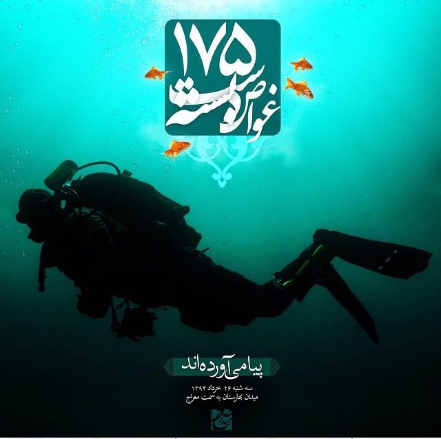 A collection of posters in memorial of 175  Iranian martyr divers (5)