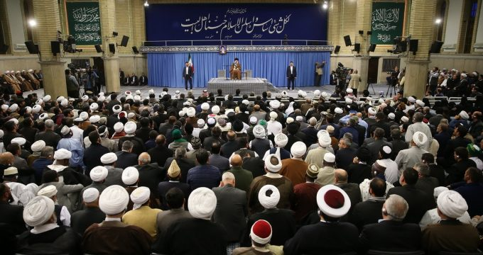 Ayatollah Ali Khamenei addresses a group of the scholars who attend the int'l conference on countering Takfirism